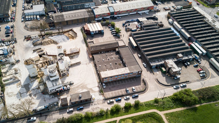 Industrial Estate in North London with factories, warehouses and a cement works in view.