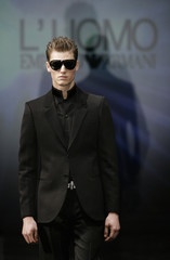 A model displays a creation as part of  Emporio Armani's Fall/Winter 2007/08 men's collections during Milan Fashion Week