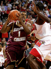 Boston College's Smith shoots against Maryland's Gist at College Park