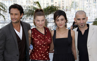 Trapero poses with Santoro, Medeiros and Gusman during a photo call at the 61st Cannes Film Festival