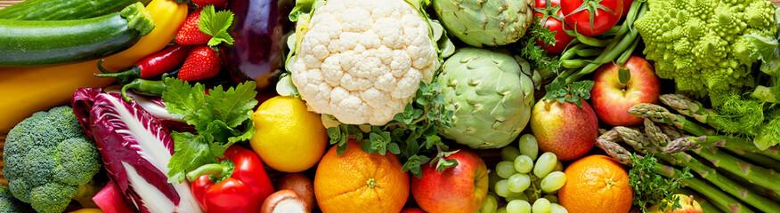 Panoramiczne szerokie tło żywności ekologicznej
