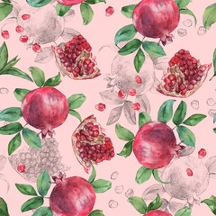Pomegranate 3. Watercolor pattern with fruits.  Seamless pattern.