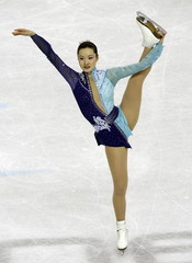 Shizuka Arakawa of Japan performs in the women's free program during the Figure Skating competition ..