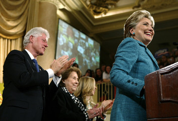 US Democratic presidential candidate Senator Clinton speaks to supporters at her Pennsylvania primary election night rally in Philadelphia