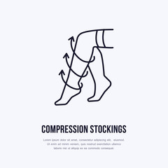 Compression stockings icon, line logo. Flat sign for surgery rehabilitation equipment shop