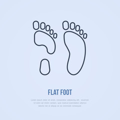 Flatfoot icon, line logo. Flat sign for orthopedic clinic or medical equipment shop