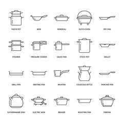 Pot, pan and steamer line icons. Restaurant professional equipment signs. Kitchen utensil - wok, saucepan, eathernware dish. Thin linear signs for commercial cooking store