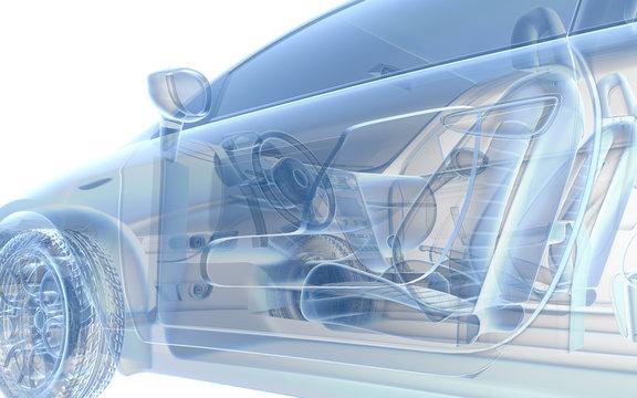 Blue x ray car