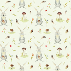 Cute baby rabbit animal seamless pattern for kindergarten, nursery isolated illustration for children clothing. Watercolor Hand drawn boho image Perfect for phone cases design, nursery poster.