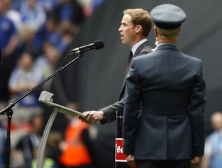 Britain's Prince William declares Wembley Stadium officially open before the FA Cup Final soccer match in London