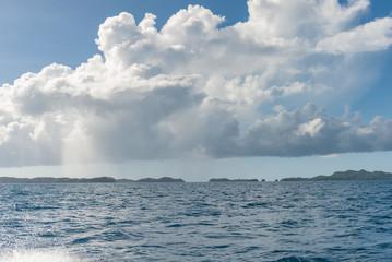Water Road To Rock Island in Palau Islands Region. Micronesia.