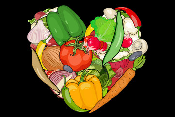 vegetables are laid out in the shape of a heart. Onion, garlic, carrot, pepper, mushrooms, tomato, beet, and other. black background cut vegetables. vector illustration of high quality.