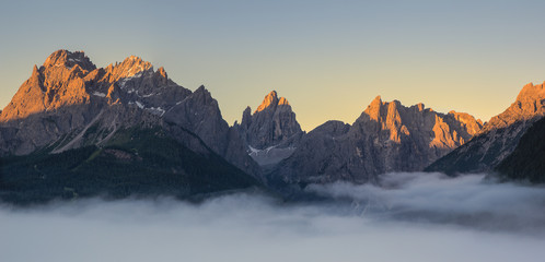 Sunset on the Sesto dolomites in Pusteria valley, South Tyrol,Italy