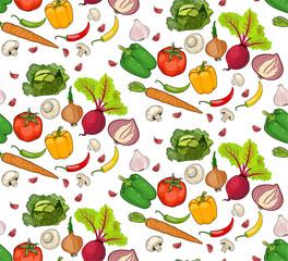 seamless pattern of vegetables. pepper, carrots, tomato. useful vegetables. food for vegetarians. vector illustration.
