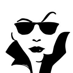 Woman face wearing sunglasses