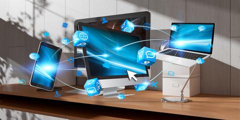 Modern devices on desktop interior 3D rendering