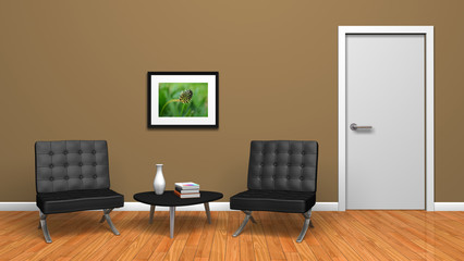 intérieur salon design porte