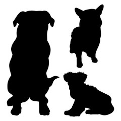 Black silhouettes of dogs on a white background