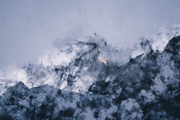 Abstract mountain range in monotone