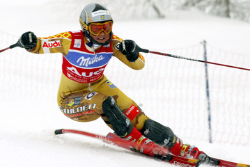 SWEDEN'S PAERSON CLEARS A GATE DURING THE WOMEN'S SLALOM RACE IN SESTRIERE.