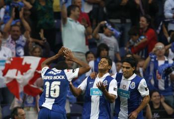 Porto's Hulk Souza celebrates his goal against Leixoes in Porto