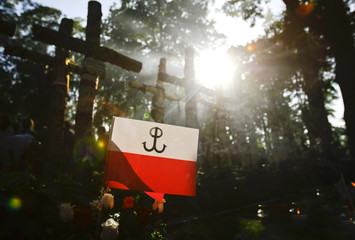 A flag with the symbol of fighting Poland is placed  at Powazki Military cemetery on the 65th anniversary of Warsaw