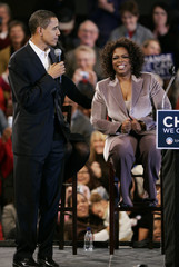 U.S. Democratic presidential candidate Obama is joined by talk show host Winfrey at a rally in Des Moines