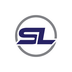 sl initial letter logo with circle blue color