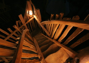 Steps lead to one of the rooms in Germany's first tree house hotel in the eastern village of Zentendorf.