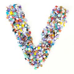 Confetti alphabet - letter V