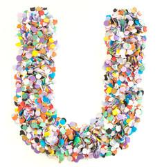 Confetti alphabet - letter U