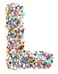Confetti alphabet - letter L