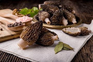 Fresh morchella conica, seasonal mushrooms