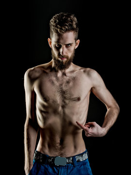bearded man or hipster with slim body, with anorexia