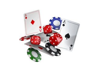 3d illustration, casino theme with color playing chips and poker cards