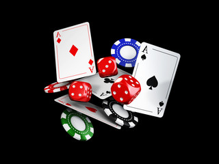 Casino theme with color playing chips and poker cards, isolated black, 3d illustration