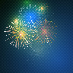 Brightly Colorful Fireworks on twilight transparent background