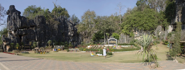 Asian thai women travel and shooting photo at viewpoint of Suan Hin Pha Ngam or Thailand's Kunming at Phu Luang