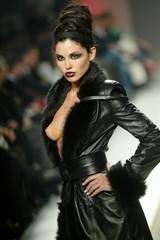 Model presents Fatima Lopes Autumn Winter design at the Portugal Fashion show in Porto.