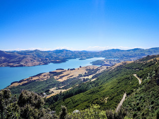 Hiking in idyllic Akaroa, Canterbury, New Zealand