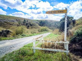 "Road sign ""Maori Rock Drawing"", Timaru, New Zealand"