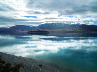 Idyllic lake Tekapo, Canterbury Region, New Zealand - Stock Image