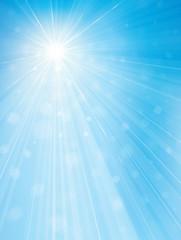 Vector sun shine blue sky  background.