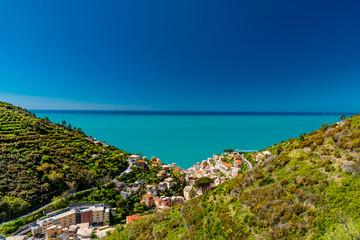 Spoed Foto op Canvas Liguria Panorama of the five lands in liguria italy