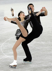 Dan Zhang and Hao Zhang of China perform during the pairs short programme at the World Figure ...
