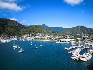 Panoramic view of Picton, New Zealand - Stock Photo
