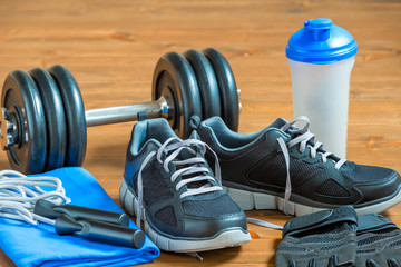 Close up objects for athlete on the floor