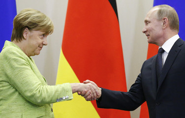 Russian President Putin and German Chancellor Merkel shake hands during joint news conference following their talks at Bocharov Ruchei state residence in Sochi