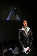 A model showcases a creation by Indian designer Soni at a fashion show in Mumbai
