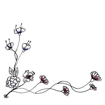 Hand drawn floral design element border decoration - EPS10